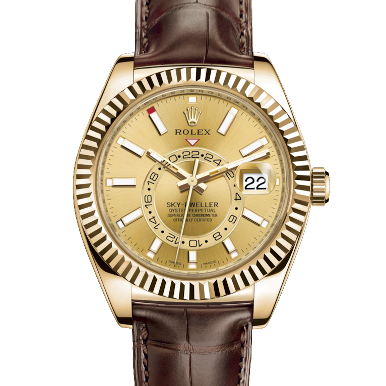 Rolex Sky Dweller 326138 42mm 18K Yellow Gold, Champagne Dial - Directional Fluted Bezel - Leather Strap - UNUSED