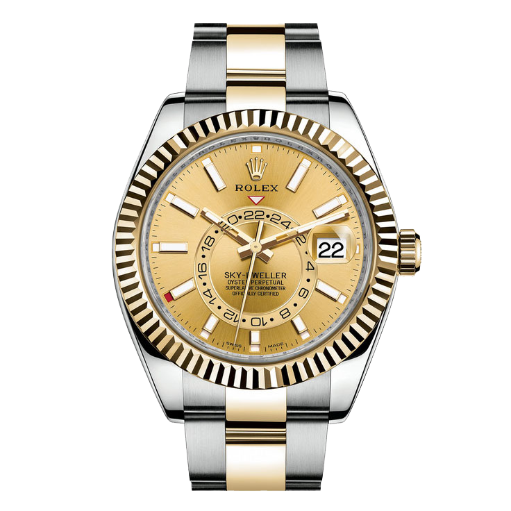 Rolex Sky Dweller 42mm 326933 - Champagne Dial - Steel & 18K Yellow Gold - Fluted Bezel On A Oyster Band - UNUSED