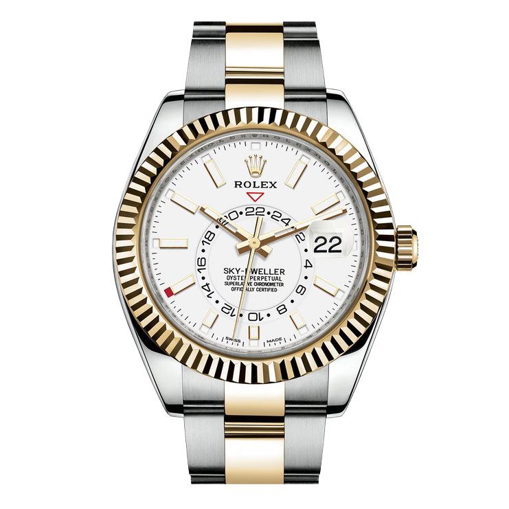Rolex Sky Dweller 42mm 326933 - White Dial - Steel & 18K Yellow Gold - Fluted Bezel On A Oyster Band - PRE-OWNED