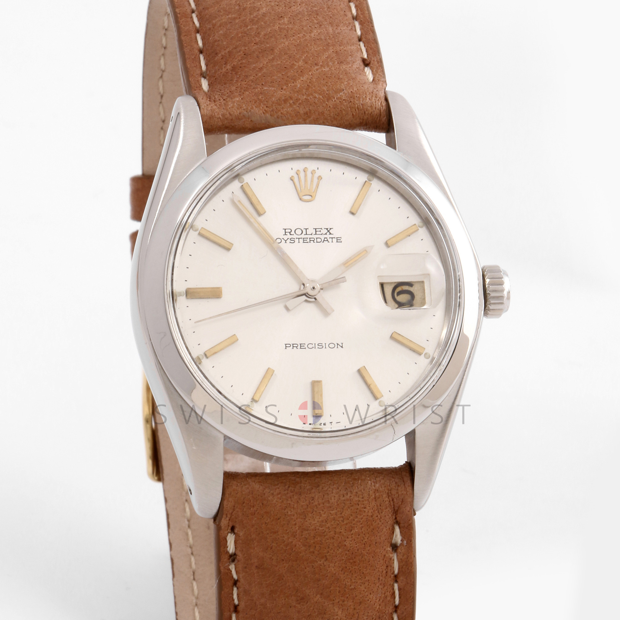 Rolex Oyster Date 34mm 6694 Stainless Steel w/ Silver Stick Dial & Smooth Bezel with Brown Leather Strap - Men's Pre-Owned Watch