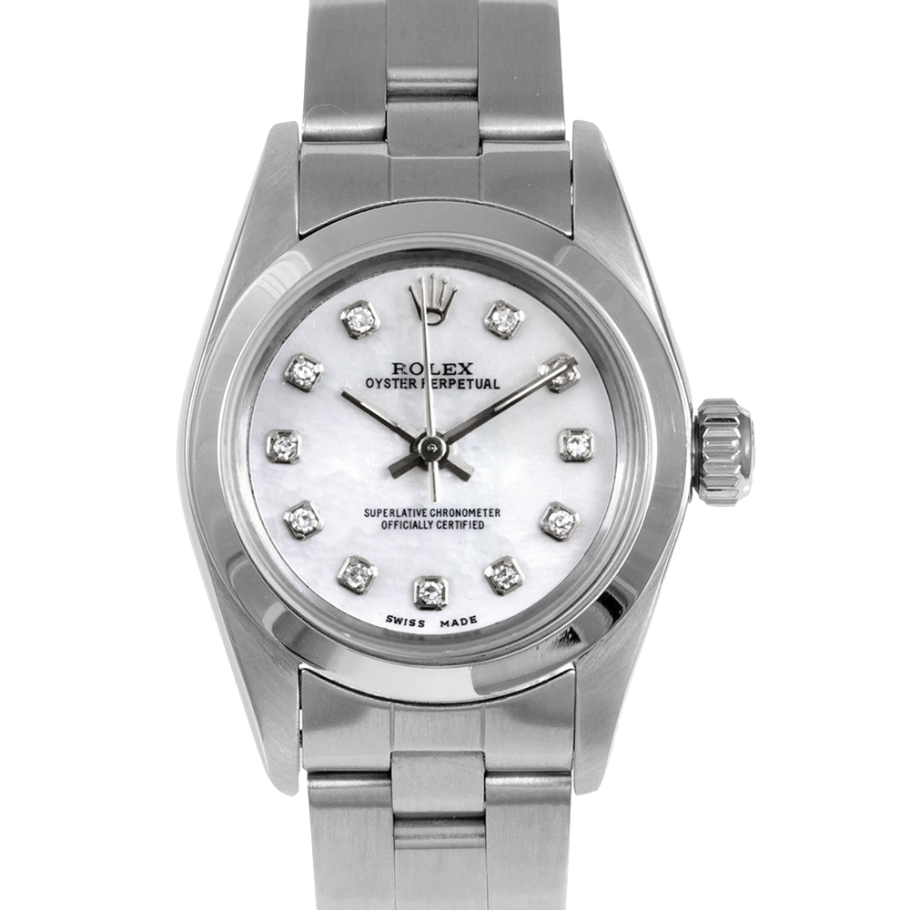 Rolex Oyster Perpetual No Date 67180 - Custom Pearl Diamond Dial - Stainless Steel - Smooth Bezel On A Oyster Band - Pre-Owned