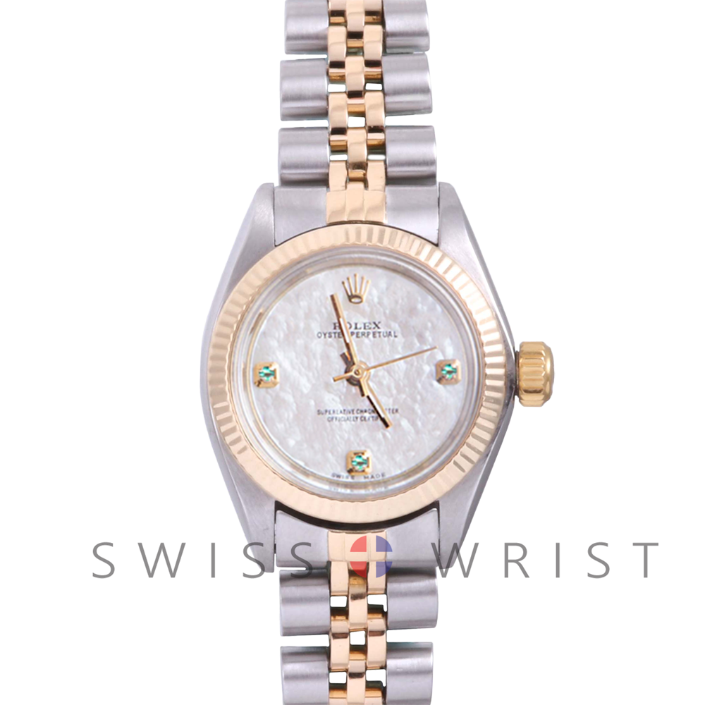 Rolex Oyster Perpetual Yellow Gold & Steel, Custom Mother Of Pearl Dial With Emeralds At 3,6,9 O'clock, Fluted Bezel On A Jubilee Bracelet - Women's Pre-Owned Watch
