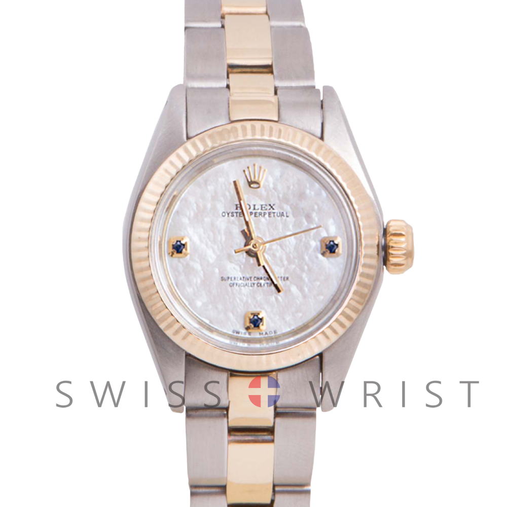 Rolex Oyster Perpetual Yellow Gold & Steel, Custom Mother Of Pearl Dial With Sapphires At 3,6,9 O'clock, Fluted Bezel On A Oyster Bracelet - Women's Pre-Owned Watch