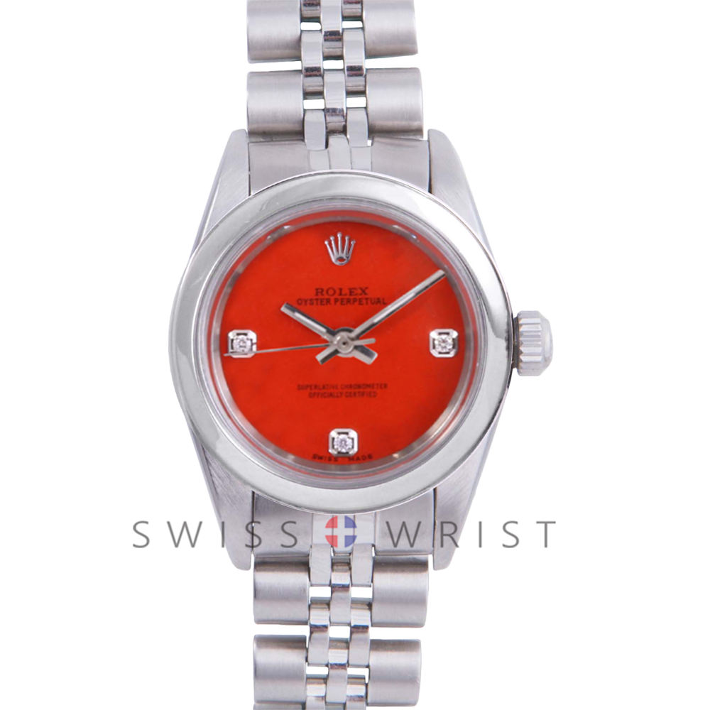 Rolex Oyster Perpetual No Date - Custom Orange 3 Stone Diamond Dial - Stainless Steel - Smooth Bezel On a Jubilee Band - Pre-Owned