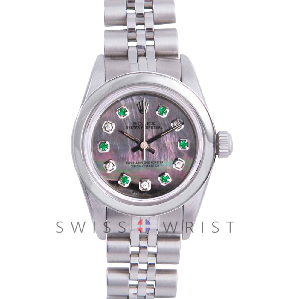 Rolex Oyster Perpetual No Date - Custom Tahitian Emerald and Diamond Dial - Stainless Steel - Smooth Bezel On a Jubilee Band - Pre-Owned