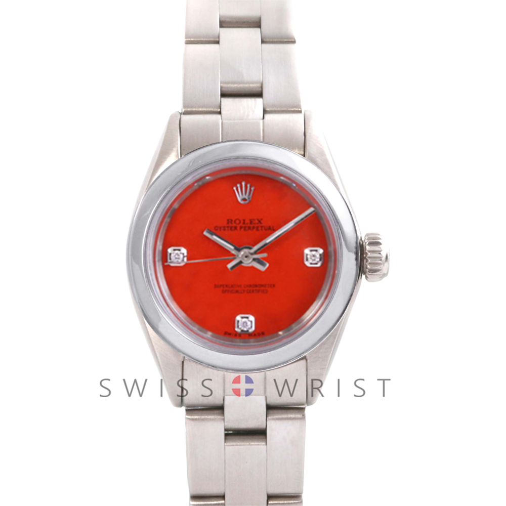 Rolex Oyster Perpetual No Date - Custom Orange 3 Stone Diamond Dial - Stainless Steel - Smooth Bezel On an Oyster Band - Pre-Owned