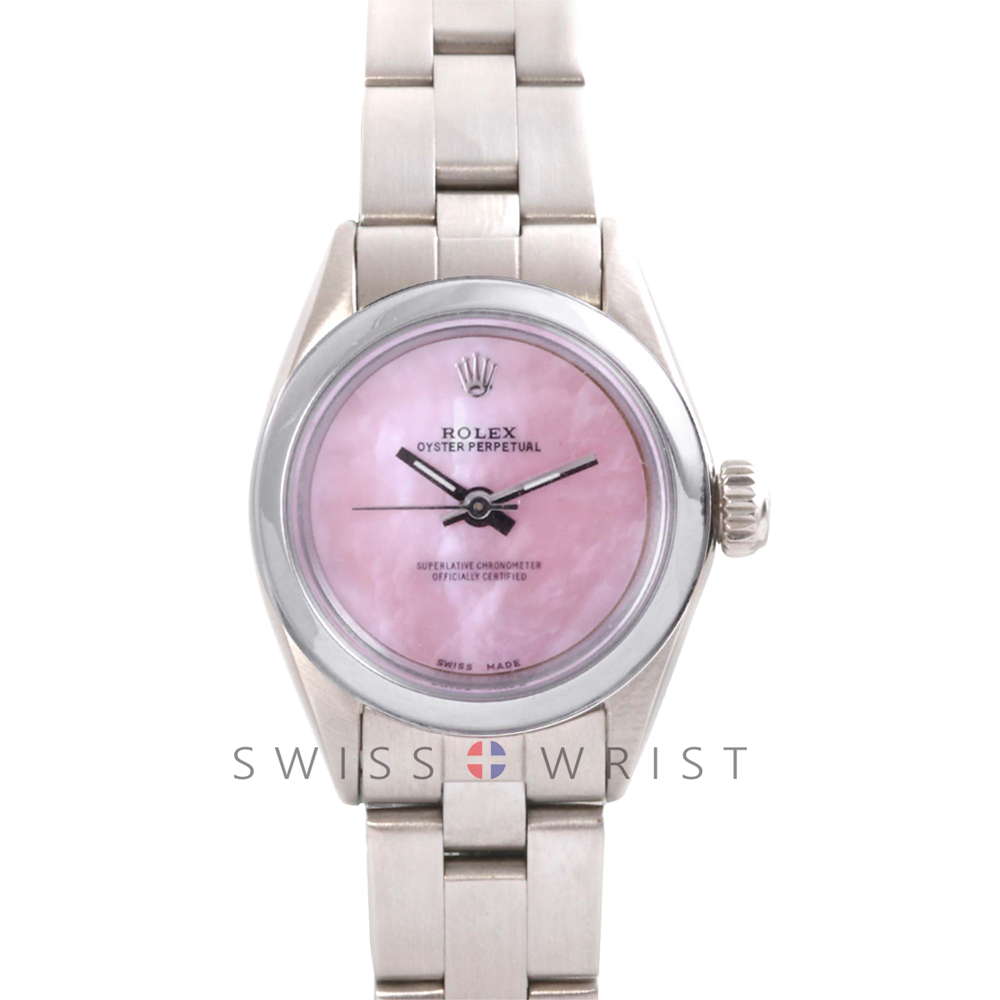 Rolex Oyster Perpetual No Date - Custom Pink Mother of Pearl Dial - Stainless Steel - Smooth Bezel On an Oyster Band - Pre-Owned