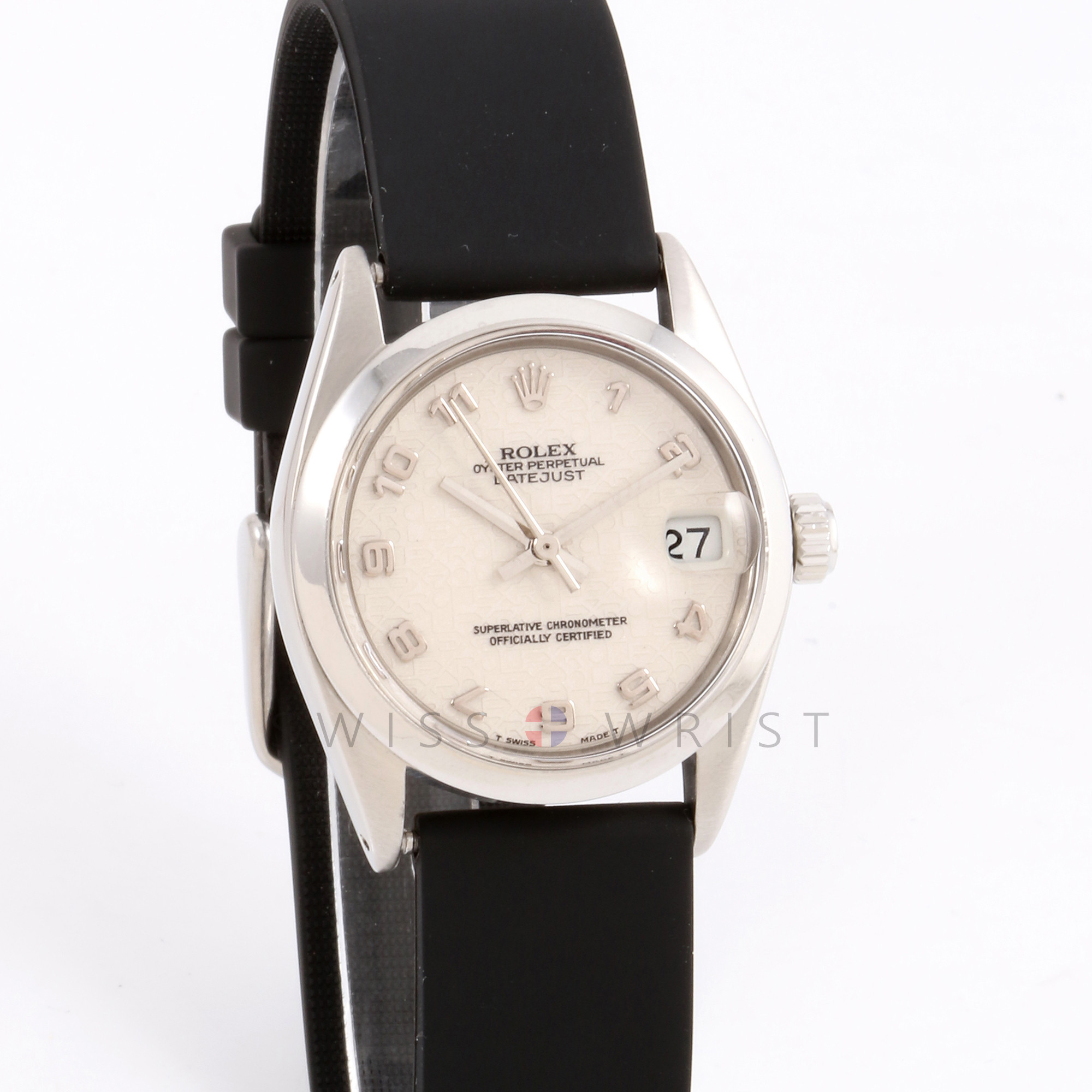Rolex 6824 Ladies Datejust 31mm Stainless Steel w/ Ivory Arabic Jubilee Dial and Smooth Bezel with Silicone Strap - Pre-Owned