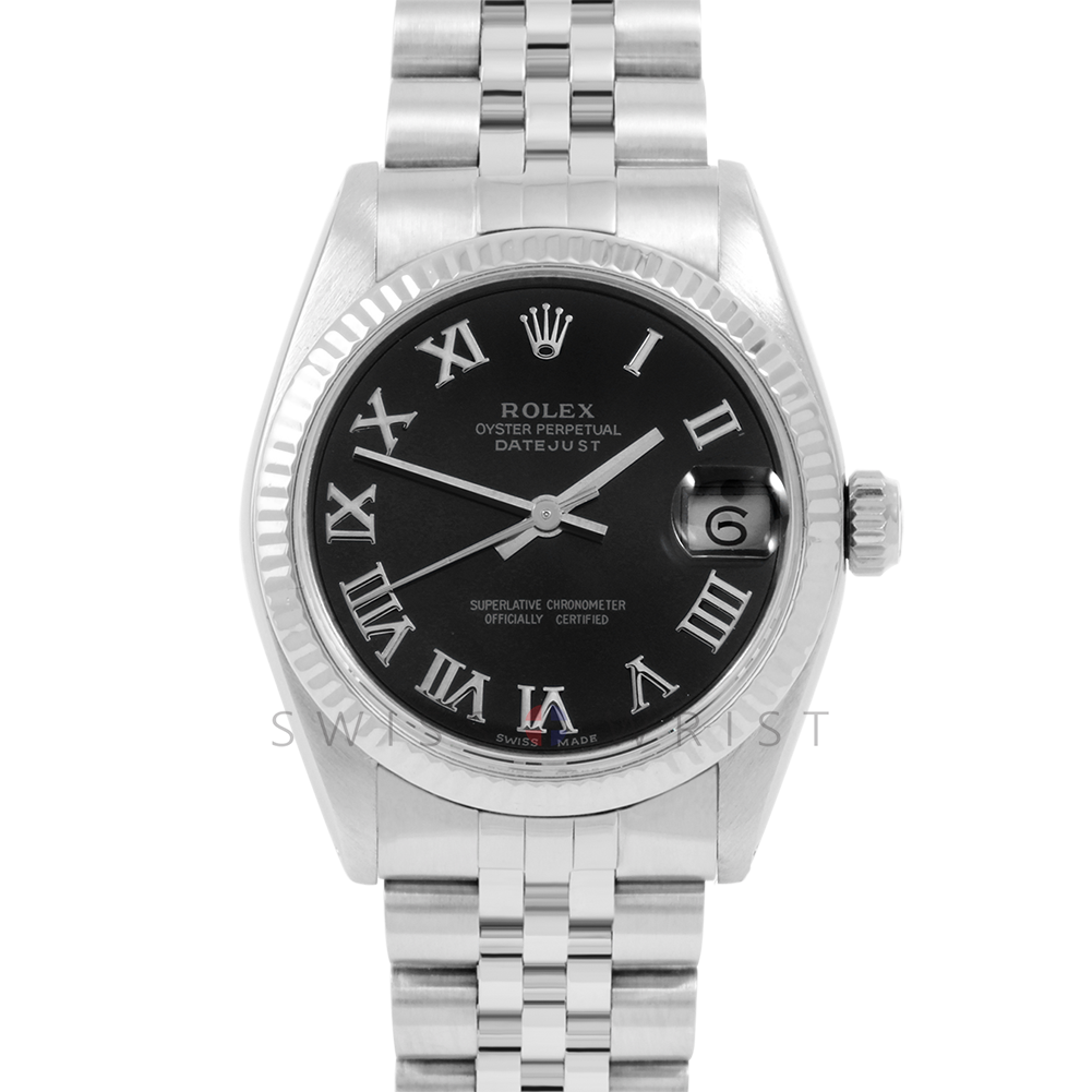Rolex Datejust 31 6827 Midsize Stainless Steel, Black Roman Dial, Fluted Bezel on a Jubilee Bracelet - Ladies Pre-Owned Non-Quickset Watch