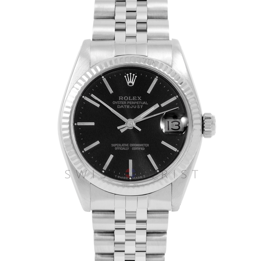 Rolex Datejust 31 6827 Midsize Stainless Steel, Black Stick Dial, Fluted Bezel on a Jubilee Bracelet - Ladies Pre-Owned Non-Quickset Watch