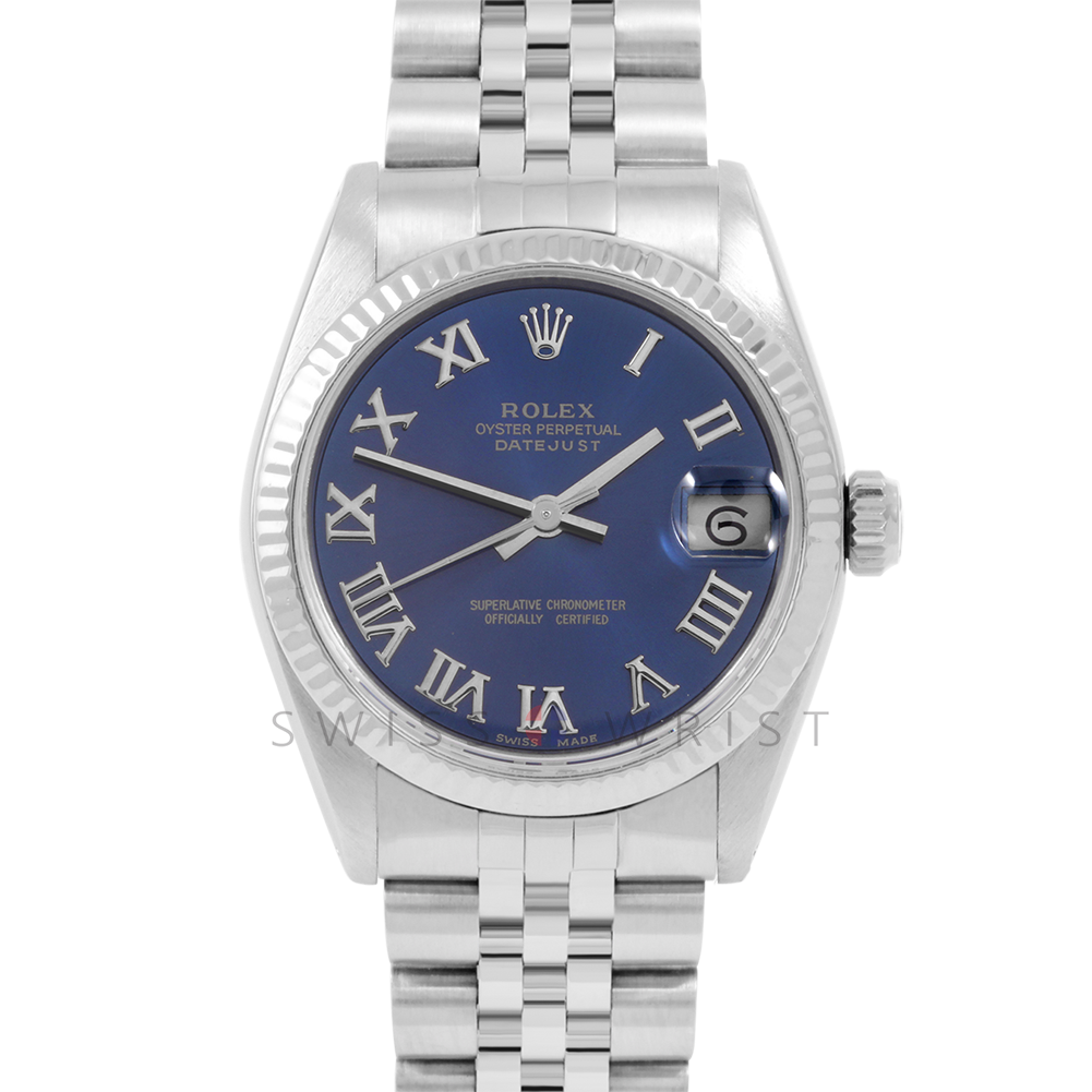 Rolex Datejust 31 6827 Midsize Stainless Steel, Blue Roman Dial, Fluted Bezel on a Jubilee Bracelet - Ladies Pre-Owned Non-Quickset Watch