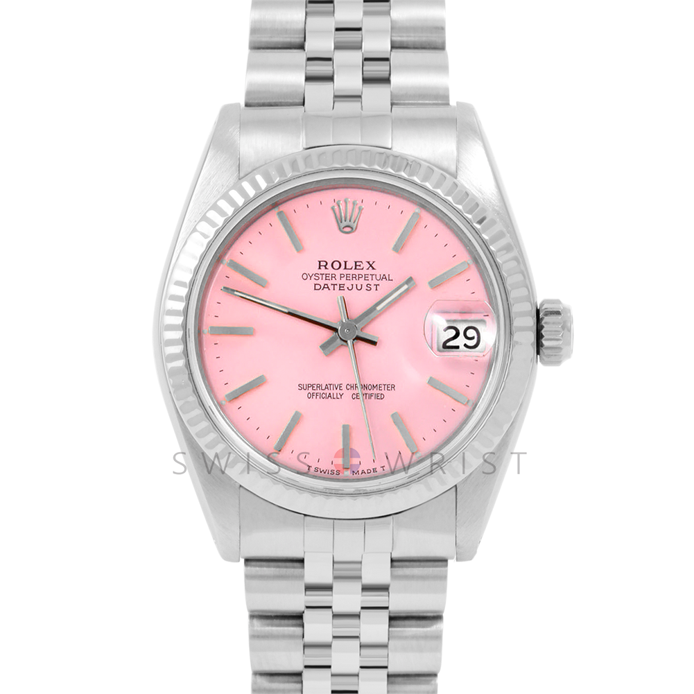 Rolex Datejust 31 6827 Midsize Stainless Steel, Pink Stick Dial, Fluted Bezel on a Jubilee Bracelet - Ladies Pre-Owned Non-Quickset Watch