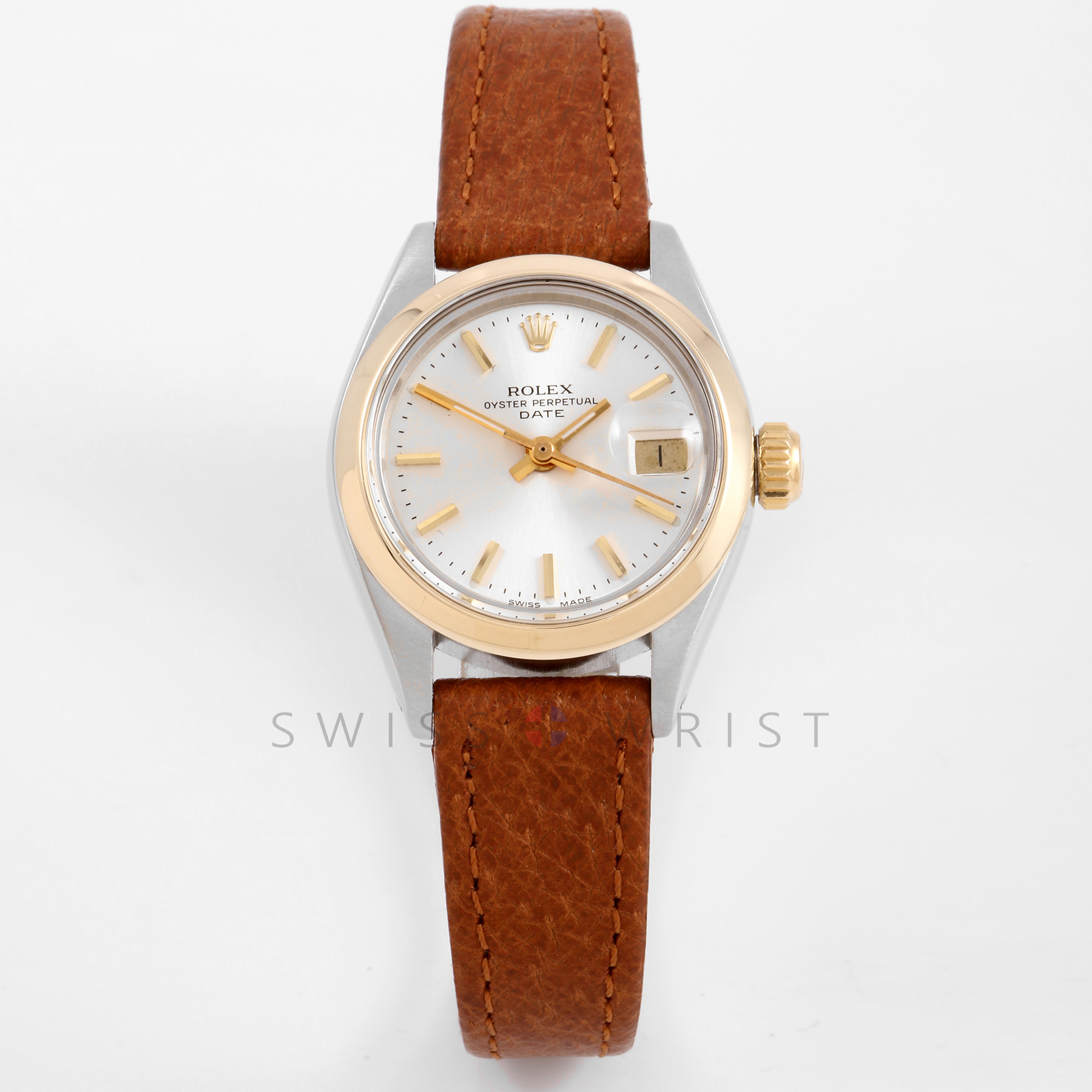 Rolex 6916 Ladies 26mm Yellow Gold & Stainless Steel w/ Silver Stick Dial and Smooth Bezel with Leather Strap - Pre-Owned