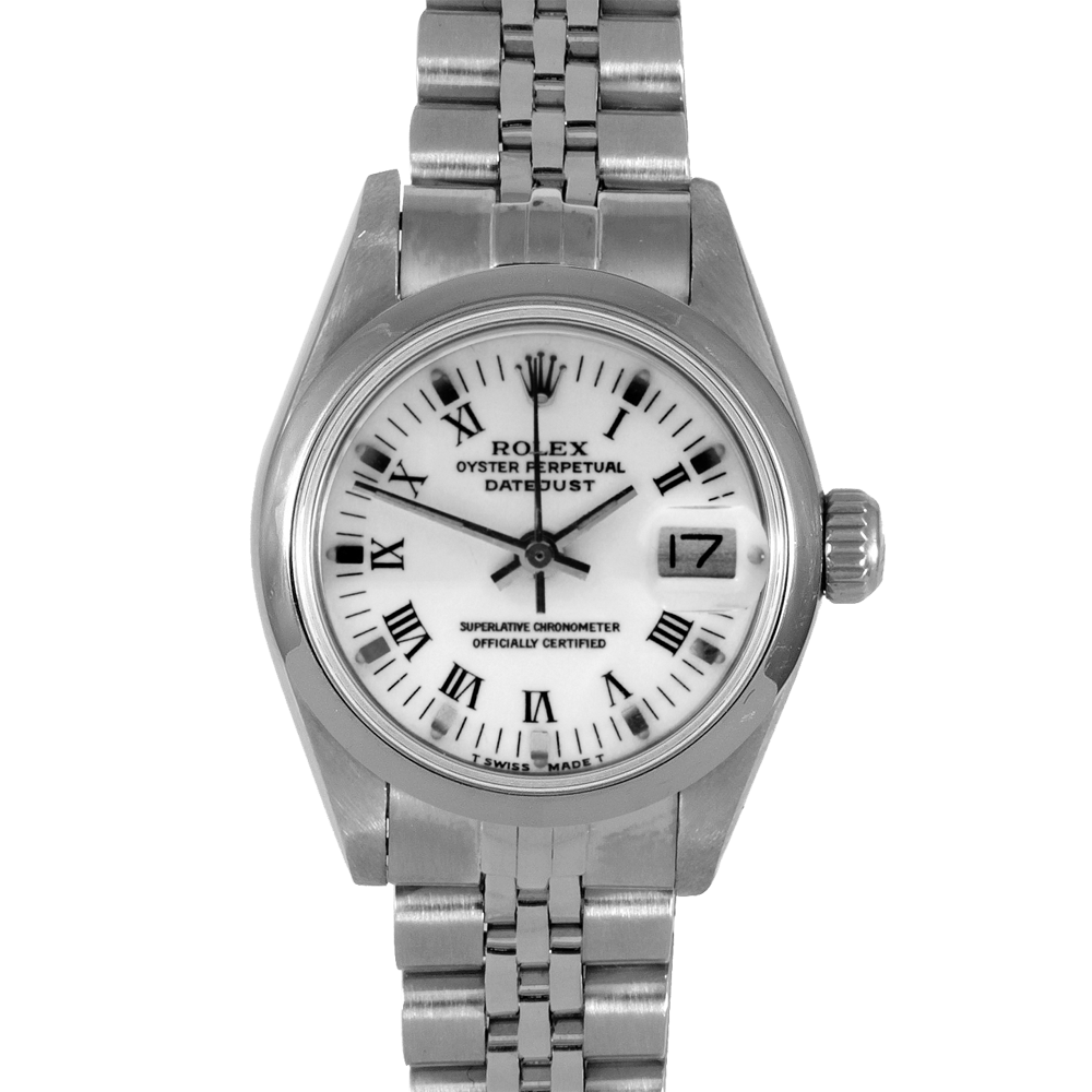 Pre-owned Rolex Ladies Quickset Datejust Watch - Stainless Steel White Roman Dial & Smooth Bezel On A Jubilee Band 69160 Model
