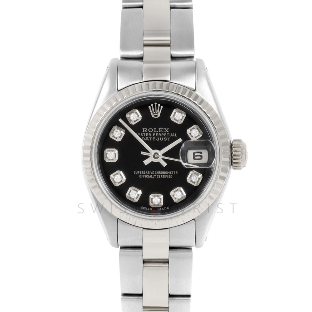 Rolex Datejust 6917 Custom Black Diamond Dial - Stainless Steel - White Gold Fluted Bezel On A Oyster Band - Pre-Owned