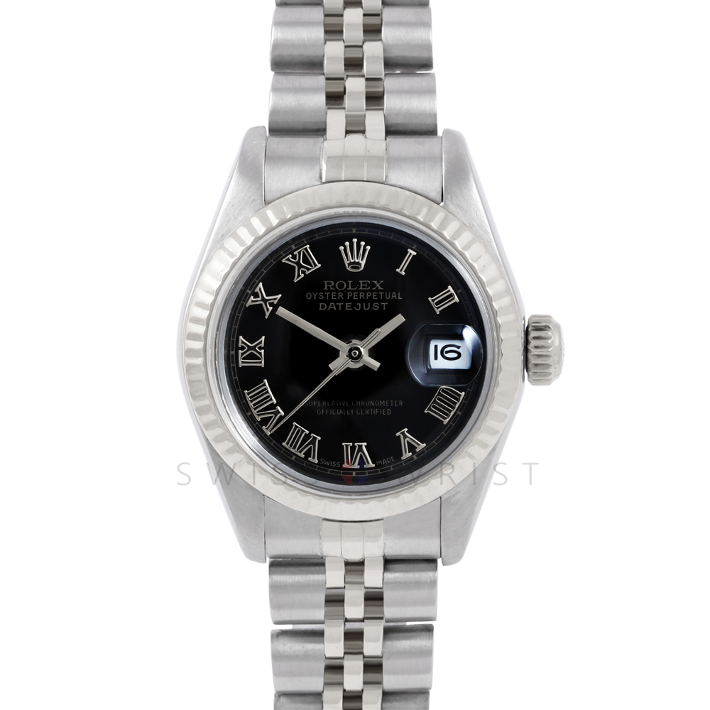 Rolex Datejust 6917 Black Roman Dial - Stainless Steel - White Gold Fluted Bezel On A Jubilee Band - Pre-Owned