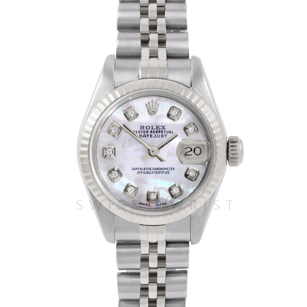 Rolex Datejust 6917 Custom Mother Of Pearl Diamond Dial - Stainless Steel - White Gold Fluted Bezel On A Jubilee Band - Pre-Owned