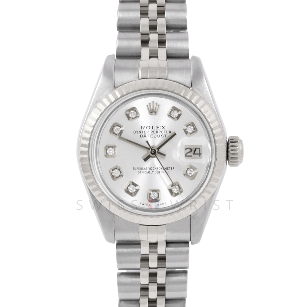 Rolex Datejust 6917 Custom Silver Diamond Dial - Stainless Steel - White Gold Fluted Bezel On A Jubilee Band - Pre-Owned