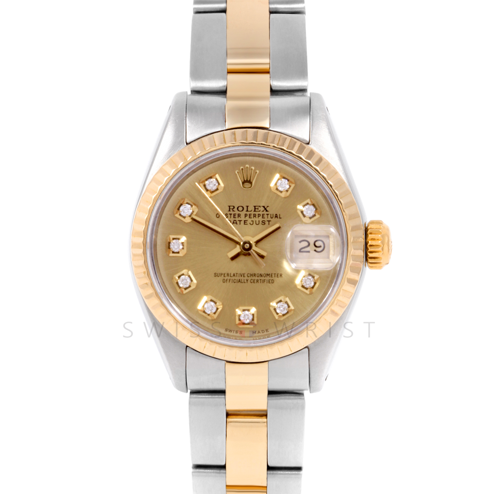 Rolex Datejust 6917 Custom Champagne Diamond Dial Yellow Gold & Stainless Steel - Fluted Bezel On A Oyster Band - Pre-Owned