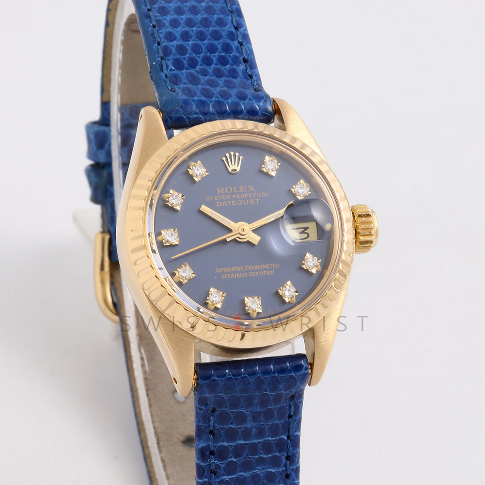 Rolex Datejust 26 mm 6917 Yellow Gold  w/ Factory Blue Diamond Dial & Fluted Bezel with Christian Dior Leather Band - Ladies Pre-Owned Watch