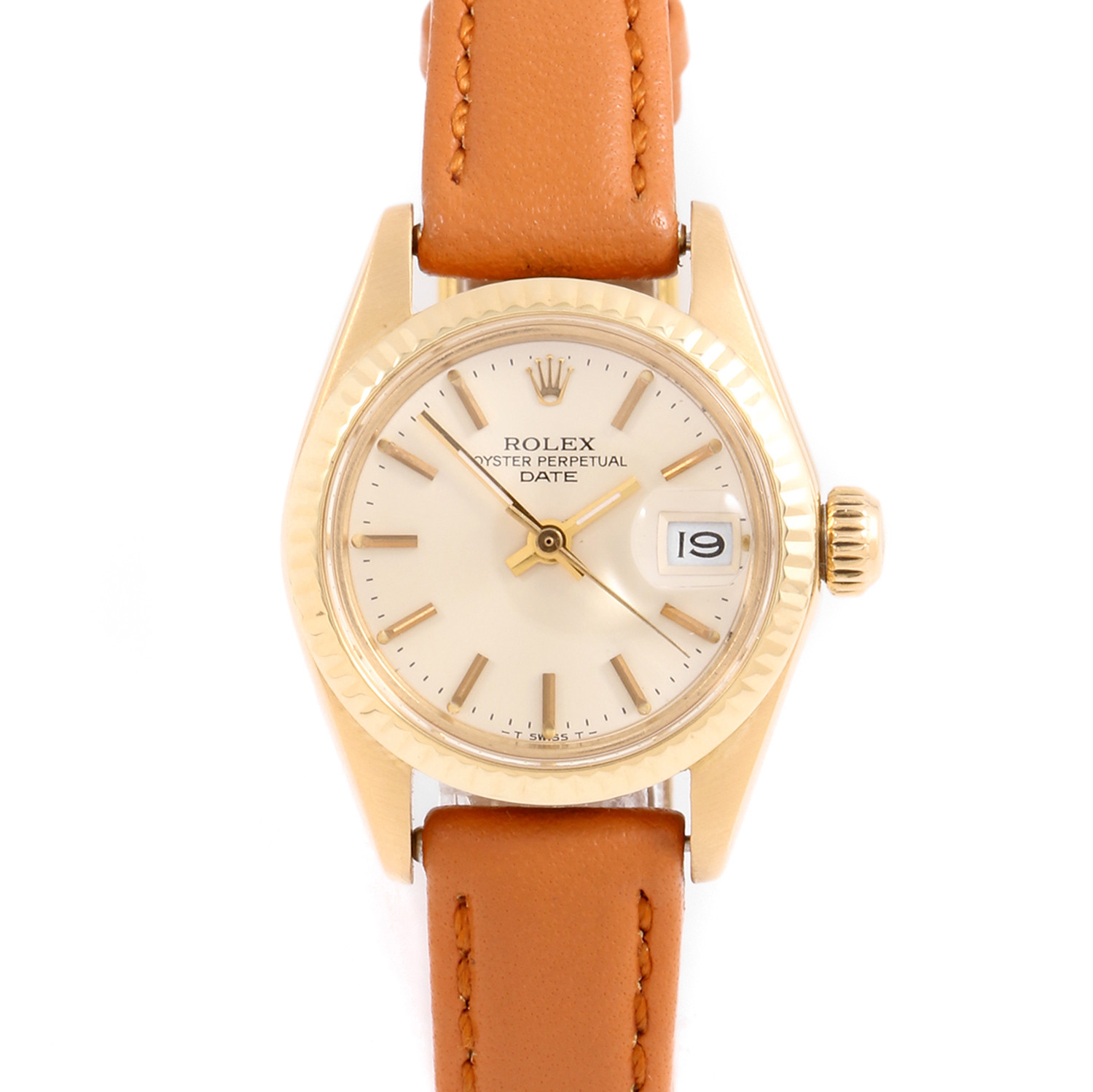 Rolex 6917 Ladies Datejust 26mm Yellow Gold w/ Silver Stick Dial & Fluted Bezel with Taupe Leather Strap - Pre-Owned