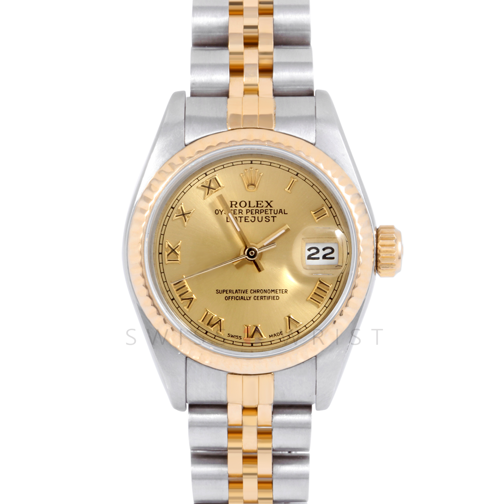 Rolex Datejust 69173 Champagne Roman Dial 18k Yellow Gold & Stainless Steel - Fluted Bezel On A Jubilee Band - Ladies Pre-Owned Watch