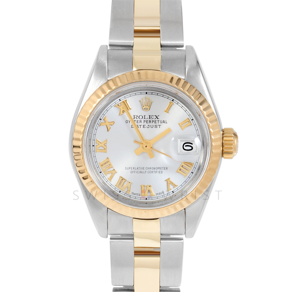 Rolex Datejust 69173 Silver Roman Dial 18k Yellow Gold & Stainless Steel - Fluted Bezel On A Oyster Band - Ladies Pre-Owned Watch