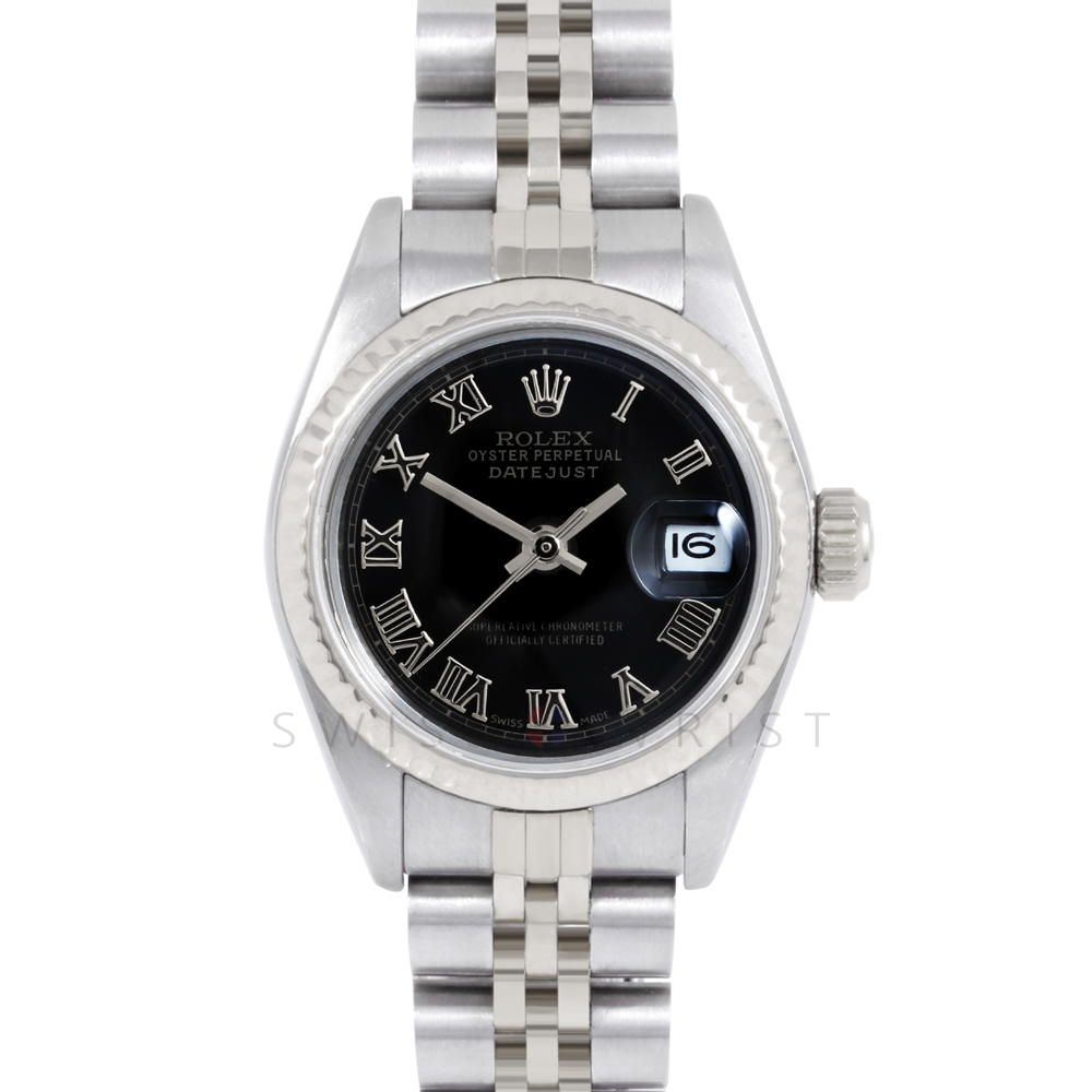 Rolex Datejust 69174 Black Roman Dial - Stainless Steel - White Gold Fluted Bezel On A Jubilee Band - Pre-Owned