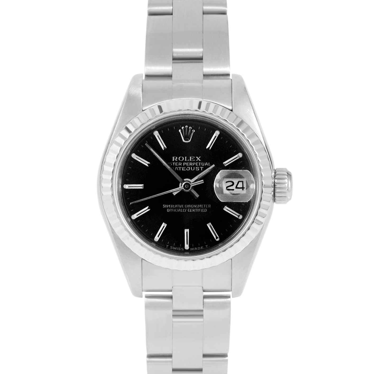 Rolex Datejust 26 69174 White Gold & Stainless Steel, Black Stick, Fluted Bezel On An Oyster Bracelet - Ladies Pre-Owned Watch