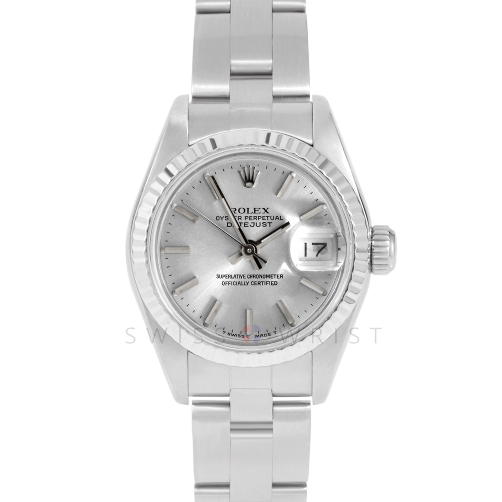 Rolex Datejust 69174 Silver Stick Dial - Stainless Steel - White Gold Fluted Bezel On A Oyster Band - Ladies Pre-Owned Watch