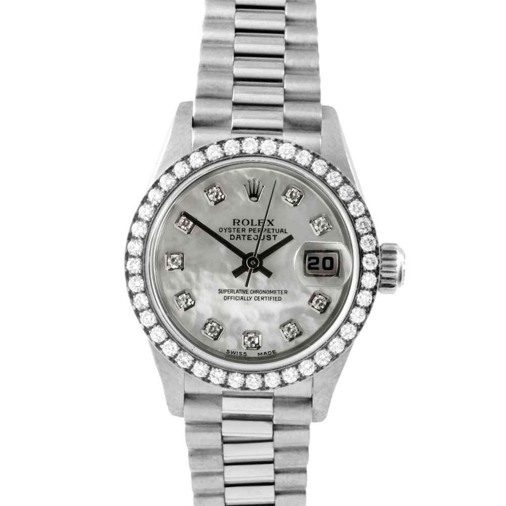 Rolex President 69179 Factory Mother of Pearl Diamond Dial 18K White Gold - Factory Diamond Bezel On A President Bracelet - Ladies Pre-Owned Watch
