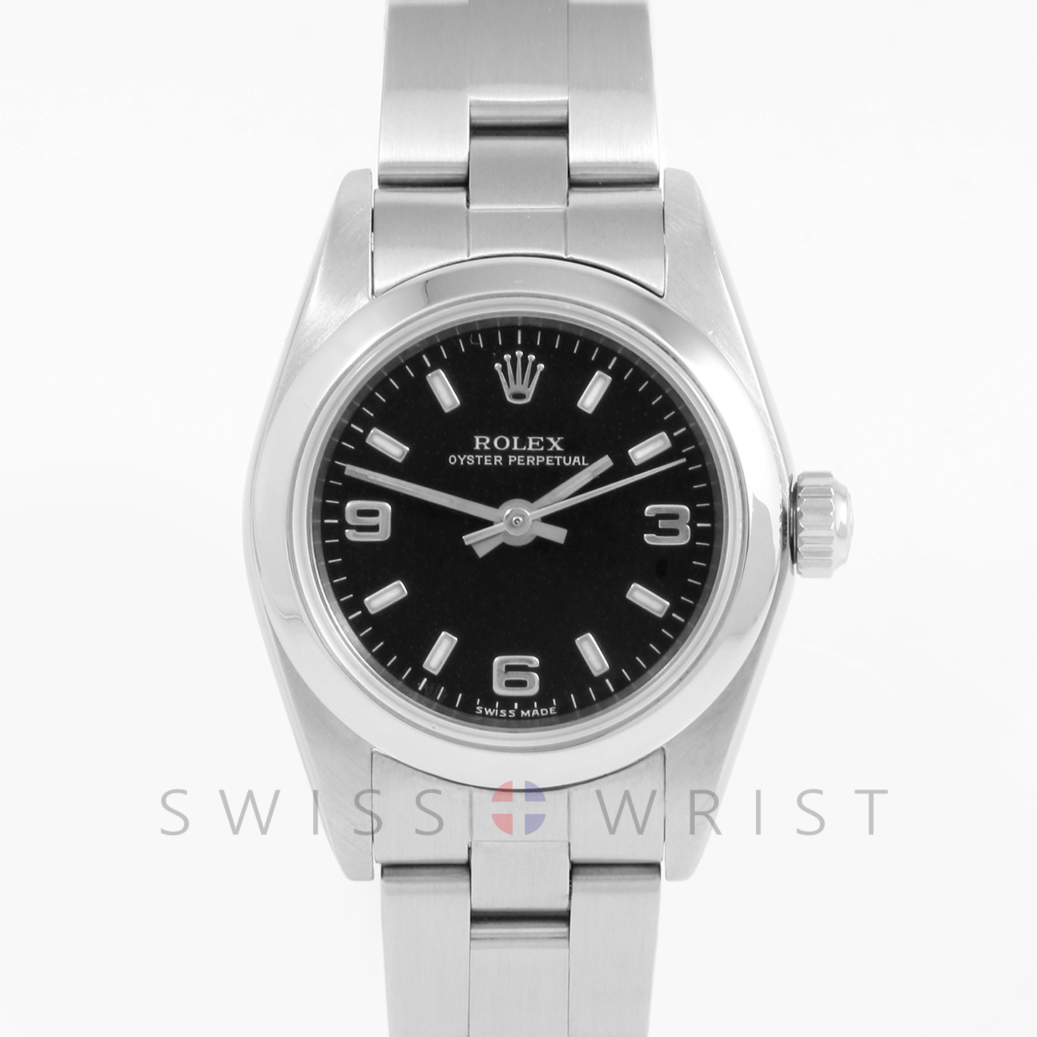 Rolex Oyster Perpetual 24 mm 76080 Stainless Steel w/ Black Dial, Smooth Bezel on an Oyster Bracelet - Pre-Owned Ladies Watch