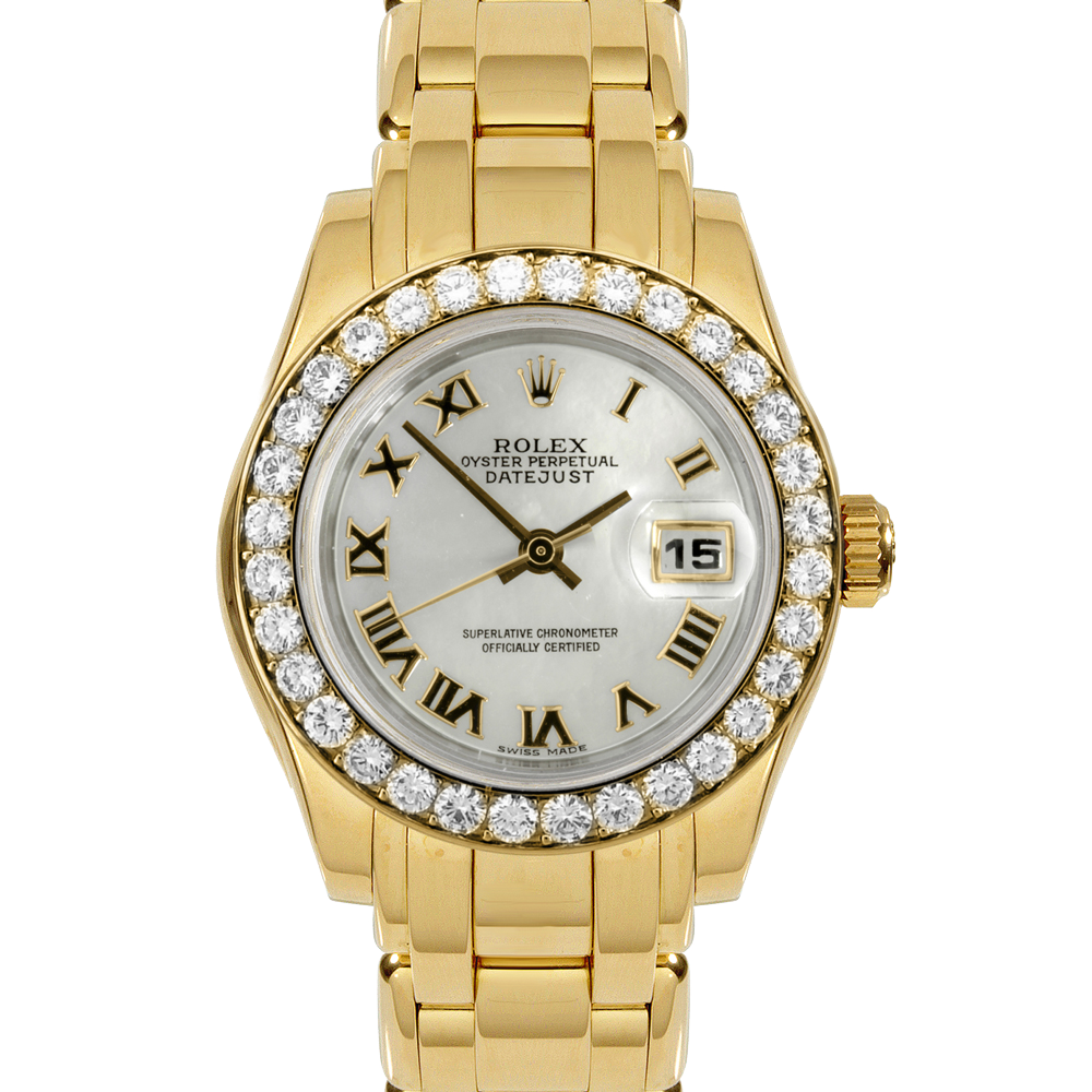 Pre-owned Rolex Ladies Pearlmaster Masterpiece Watch - Yellow Gold With A Factory Mother Of Mother Of Pearl Roman Dial And Full 32 Stone Diamond Bezel 80298