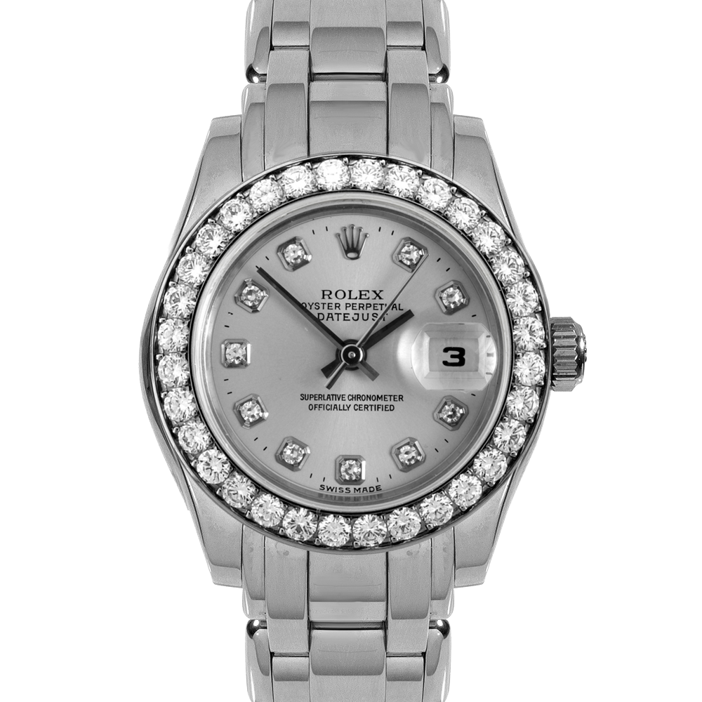 Pre-owned Rolex Ladies Pearlmaster Masterpiece Watch - White Gold With A Factory Silver Diamond Dial And Full 32 Stone Diamond Bezel 80299