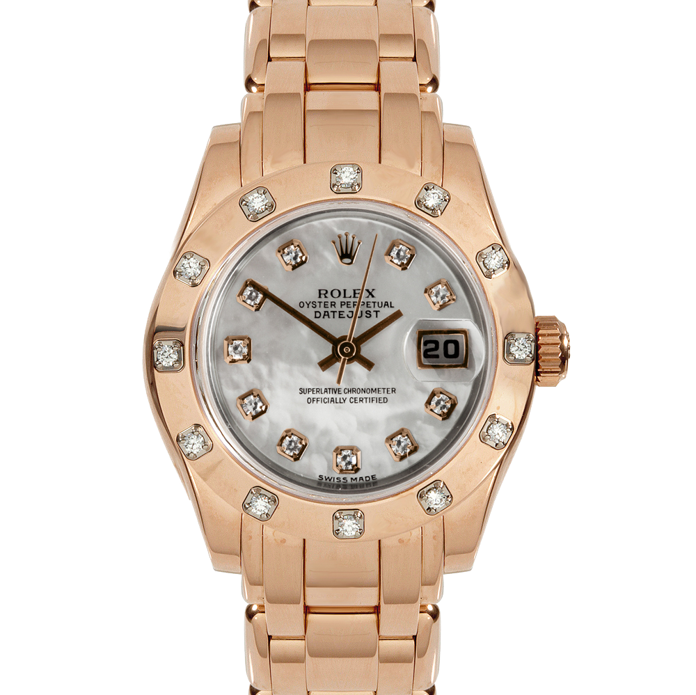 Pre-owned Rolex Ladies Pearlmaster Masterpiece Watch - Rose Gold With A Factory Mother Of Pearl Diamond Dial And A 12 Stone Diamond Bezel 80315