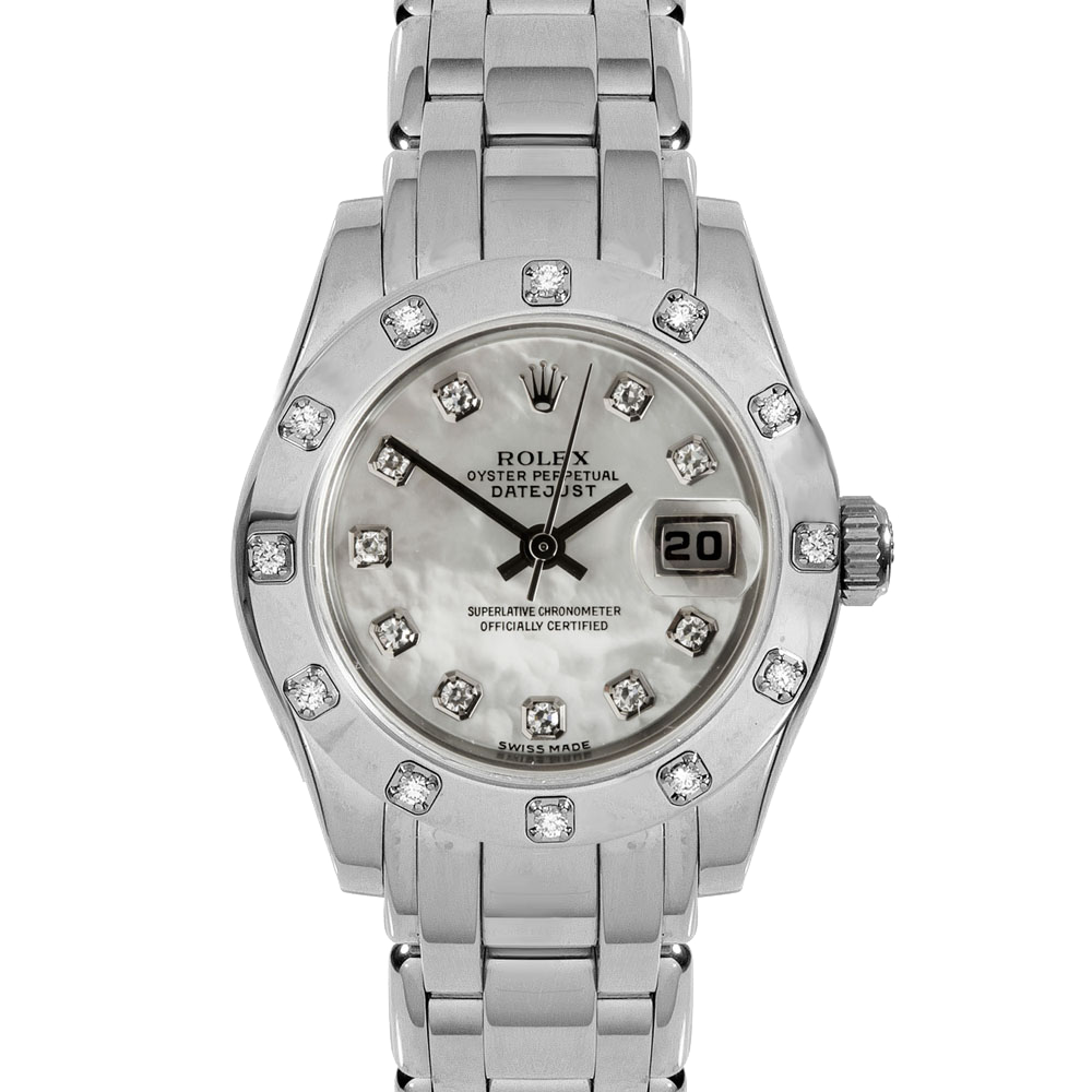 Pre-owned Rolex Ladies Pearlmaster Masterpiece Watch - White Gold With A Factory Mother Of Pearl Diamond Dial And 12 Stone Diamond Bezel 80319