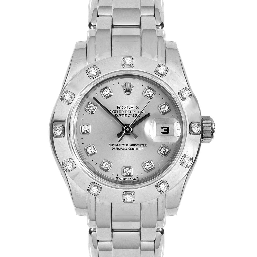 Pre-owned Rolex Ladies Pearlmaster Masterpiece Watch - White Gold With A Factory Silver Diamond Dial And 12 Stone Diamond Bezel 80319