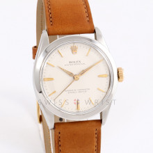 Rolex Oyster Perpetual 34 mm No Date, Silver Stick Dial w/ Smooth Bezel on a Brown Leather Strap - Pre-Owned Men's Watch