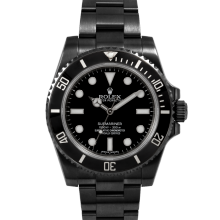 Pre-Owned Rolex Men's Submariner Watch with PVD Coating- No Date Black Dial - 60 Minute Ceramic Bezel - Oyster Bracelet  114060