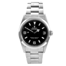 Pre-owned Rolex Mens Explorer I Watch - Stainless Steel Black Dial 114270 36MM Model
