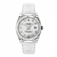 New Rolex Mens New Style Datejust Watch - 18K White Gold Mother of Pearl Diamond Dial - Fluted Bezel - White Leather Strap w/ Gold Clasp 36 MM 116139