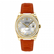 New Rolex Mens New Style Datejust Watch - 18K White Gold Mother of Pearl Diamond Dial - 60 Diamond Bezel - Leather Strap w/ Gold Clasp 36 MM 116188