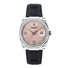 New Rolex Mens New Style Datejust Watch - 18K White Gold Pink Wave Diamond Dial - Diamond Bezel - Black Leather Strap w/ Gold Clasp 36 MM 116189