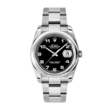 New Rolex Mens New Style Datejust Watch - Stainless Steel Black Arabic Dial - Domed/Smooth Bezel - Oyster Bracelet 36 MM 116200