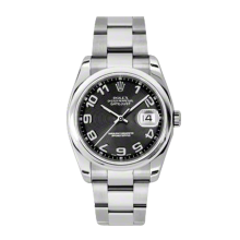 New Rolex Mens New Style Datejust Watch - Stainless Steel Black Concentric Arabic Dial - Domed/Smooth Bezel - Oyster Bracelet 36 MM 116200