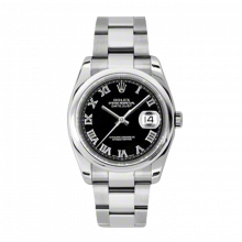New Rolex Mens New Style Datejust Watch - Stainless Steel Black Roman Dial - Domed/Smooth Bezel - Oyster Bracelet 36 MM 116200