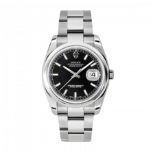 New Rolex Mens New Style Datejust Watch - Stainless Steel Black Index Dial - Domed/Smooth Bezel - Oyster Bracelet 36 MM 116200