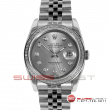 Rolex Men's New Style Datejust Stainless Steel Custom Silver Diamond Dial & Diamond Bezel On A Jubilee Band 116200 Model