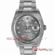 Rolex Men's New Style Datejust Stainless Steel Custom Silver Diamond Dial & Diamond Bezel On An Oyster Band 116200 Model