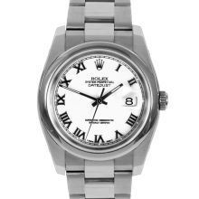 Pre-owned Rolex Mens New Style Datejust Watch - Stainless Steel White Roman Dial & Smooth Bezel On An Oyster Band 116200 Model